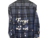Forget Me Not Shirt in Grey Plaid Flannel. William Shakespeare the winter's tale play quote nots flowers wistful graphic tees hand writing