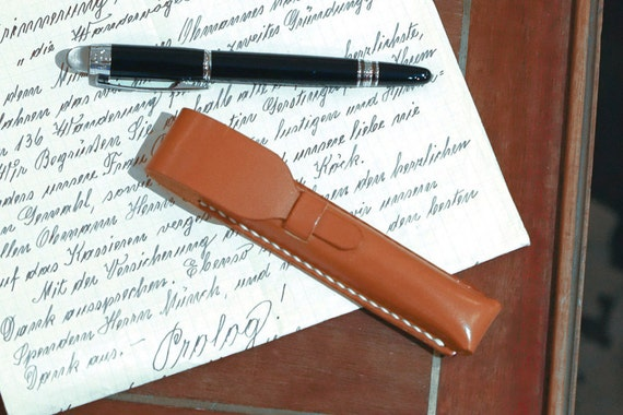 Personalized Executive Leather Pen Case with Monogram, Hand Stitched by Harlex