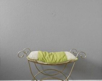 vintage hollywood regency gold metal bench / vanity stool / seat