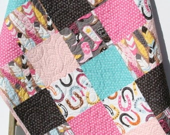 Western Baby Girl Quilt, Luckie by Blend Fabrics, Horseshoes Feathers Boots, Modern Nursery Blanket, Turquoise Pink Dark Brown, Cowgirl