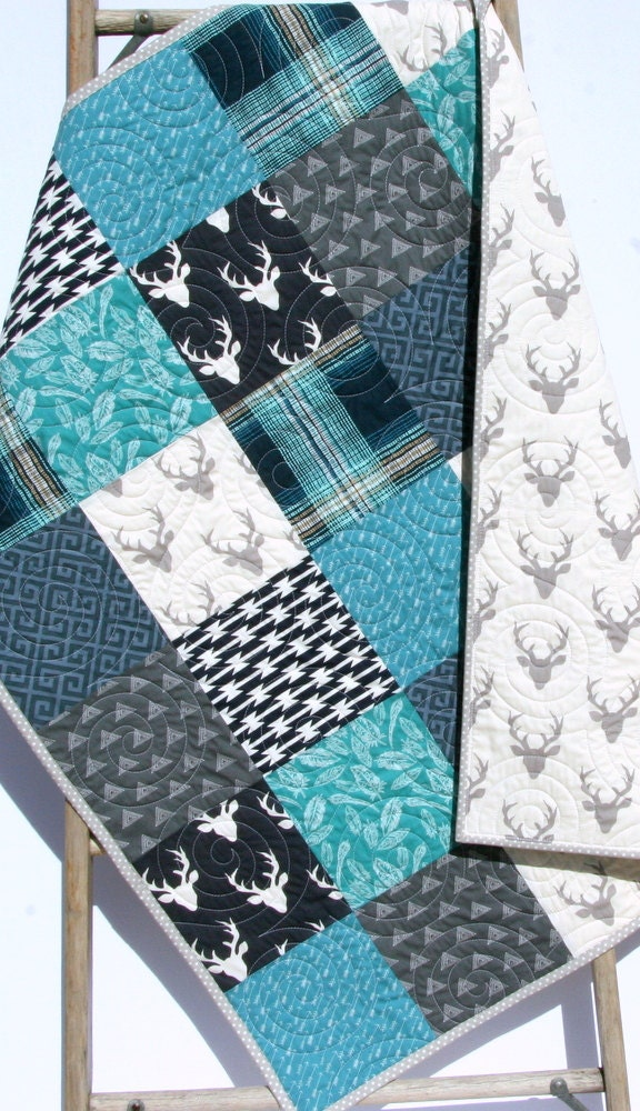 Baby Quilt Boy Navy Blue Teal Grey Gray Elk Deer Woodlands
