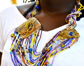African Masai Multicolored Beaded Necklace,Statement African jewelry,African Masai Beaded Necklace