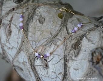 Swarovski Crystals Ankle Bracelet in Gold filled, Pink and Purple Crystals, Handmade Anklet