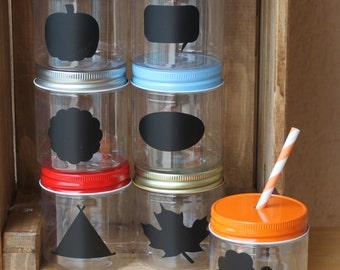 Plastic Mason Jars, 10 8oz Plastic Mason Jar Cups Candy Cups Fall Thanksgiving Cups STRAW LIDS Wedding Baby Shower Kids Party favors USA