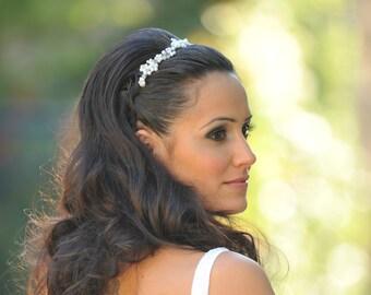 Crystal and pearl tiara wedding pearl tiara bridal pearl headband wedding Hair crown bridal pearl crown pearl wreath crystal bridal headband