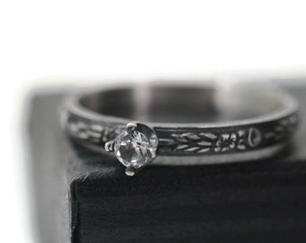 White Sapphire Engagement Ring, Oxidized Silver Dainty Gothic Floral Band, 3mm Natural Crystal Promise or Dress Jewelry