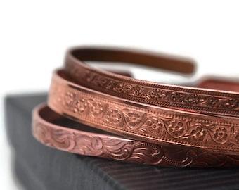 Copper Cuff Bracelets Set of 3, Floral Patterned Pure Copper Jewelry, Hippie Boho Adjustable Bangle Set