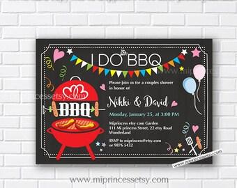I Do BBQ Invitations, Wedding Shower Invites,  Couples Shower BBQ, Wedding Shower BBQ Chalkboard, Engagement Party, Bridal bbq  - card 574