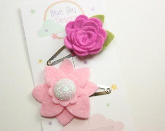 Baby Hair Clips - Pink - Itty Bitty  Infant Hair Clips - Baby Snap Clips - Toddler Hair Bows