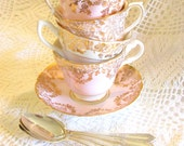 Pale Pink Instant Tea Party Set, 4 Vintage English China Teacups Saucers & Spoons Wonderland Birthday Mad Hatter Table by High Tea for Alice