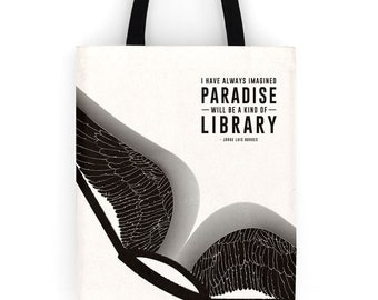 Literary Tote Bag, Paradise, Handmade canvas tote bag with pocket, canvas bag, Bookish tote bag, Gifts for Writers, back to school book bag