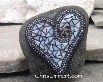Iridescent Light Blue Mosaic Heart, Mosaic Garden Stone, Gardner Gift, Garden Decor, Mosaic Rock