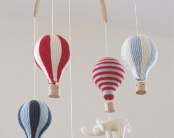 baby mobile - hot air balloon -  red/blue  mobile - nursery mobile -  made to order