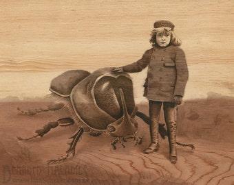 "Boy with Companion, insect art print, 8""x10"", vintage cabinet card, portrait, rhinoceros beetle, illustration,"