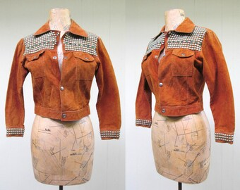 Vintage 1970s Jacket / 70s Rust Rough-Out Suede Metal Studded Rockstar Jacket / Extra Small