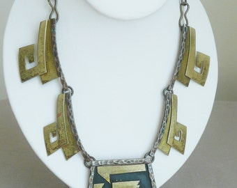 """Vintage MEXICO Brass & Copper Statement Necklace, Tribal, Ethnic, Link, 18.5"""""""