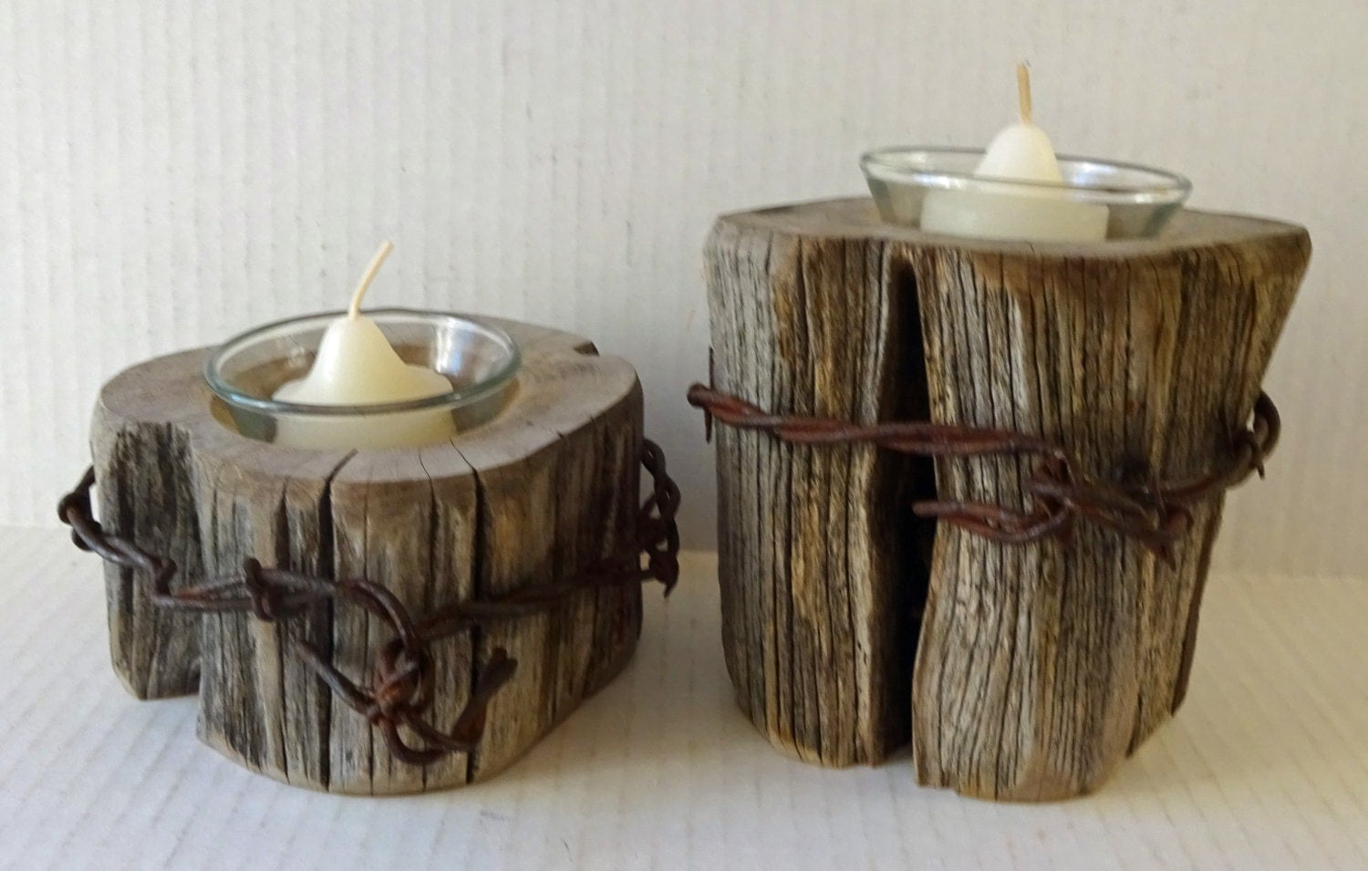 Rustic candle holders fence post barb wire barn wood primitive for Rustic wood candle holders