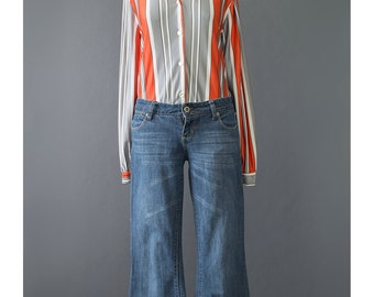 70s Shirt - Mod Shirt - Striped Shirt - Retro Shirt - Jersey Shirt - Black Grey Orange Striped Blouse - 1970s Shirt - Disco Shirt