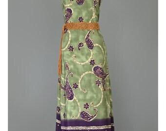 Vintage 90s Dress 1990s Striped Border Print Tribal Paisley Floral Maxi Dress Olive Green Plum Purple Sleeveless Plus Size Summer Sundress