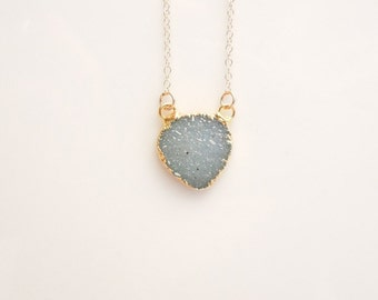 Aqua Druzy Necklace in Gold - Rare Color - OOAK Jewelry