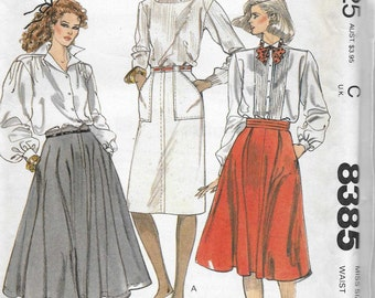 McCalls 8385 Women's 80s Flared Straight or Full Circle Skirt Sewing Pattern Waist 28 Size 14
