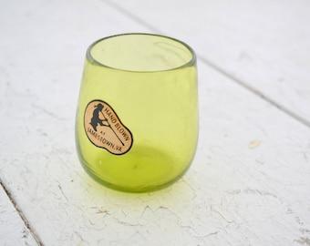 1950s Green Handblown Glass Votive
