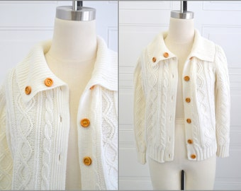 1970s Cream Cable Knit Cardigan