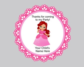 Set of 16 Princess favor tags ariel princess tags personalized party tags favor tags bag tags thank you tags