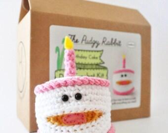 Crochet Birthday Cake Kit, Amigurumi Kit, DIY Crochet, Learn to Crochet, Crochet Cake Pattern