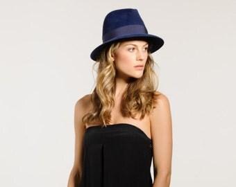 Navy, Felt, Fedora, Hat, Fall, Winter, Suede Hat