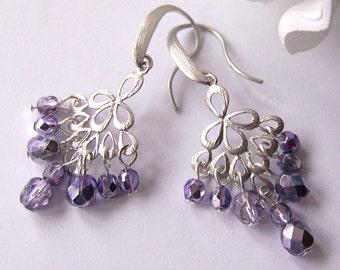 Lavender Crystal Earrings, Chandelier Earrings, Drop Earrings, Dangle Earrings, Bridal Jewelry, Wedding Earrings, Modern, Gift for Her