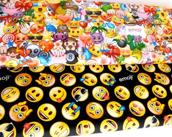Emoji fabric, Emoticons fabric, Bundle of 2 fabrics, CHOOSE YOUR CUT 100% cotton fabric for Quilting and general sewing projects.