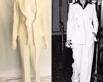VintageAnne Klein Creamy White Pansuite - Ala' Bianca Jagger - Deadstock