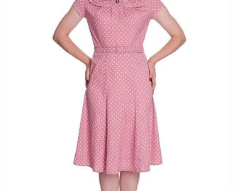 Brand New Retro Vintage 1940s Inspired Pink Polka Dot Tea Dress