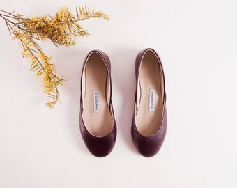 Bordeaux Leather Ballet Flats | Dark Purple Luxurious Ballerinas | Women's Flat Shoes | Bordeaux ... Made to Order