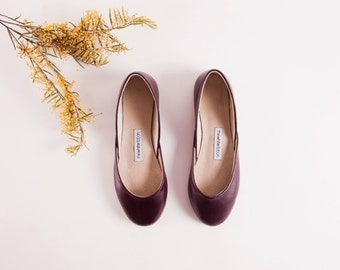 Bordeaux Leather Ballet Flats | Dark Purple Luxurious Ballerinas | Women's Flat Shoes | Bordeaux ... Ready to Ship