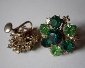Emerald Green! Peridot Green! Swarovski Crystals! Screw Back Earrings! 1950 Earrings! May And August Birthstone Colors! Free S & H! On Sale!