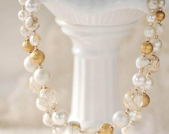 Vintage Multi strand necklace, cream & gold vintage beaded necklace, bride jewelry