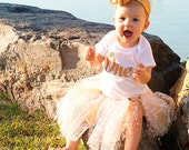 Gold Glitter One Gerber® ONESIE® Brand Bodysuit, First Birthday Shirt, One Shirt, 1st Birthday Shirt, Baby Girl Birthday Shirt (SH012)