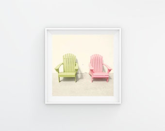 Chair Print, Adirondack Chair Photography Print, Adirondack Art, Lime Green, Pink Art, Colorful Wall Art, Beach House Decor, Florida Art
