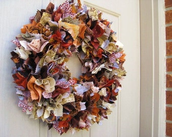 Fall Wreath, Fall Rag Wreath, Thanksgiving Decor, Thanksgiving Wreaths, Autumn Door Wreath, Fabric Wreath for Front Door