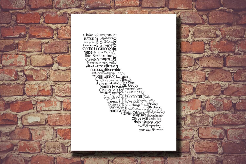 California Print California Map CA State Art Map San
