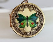 Locket, Blue Green Butterfly Large Brass Round Locket Necklace, jewelry gift,Pendant, Wedding, bridesmaid gift locket necklace,