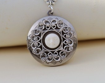 Moon Face Carving Silver Locket,jewelry gift,Pendant,Filigree Leaf,Locket Necklace,Wedding Necklace