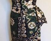 Vintage 1950s inspired Hawaiian sarong halter dress green black barkcloth XXL VLV rockabilly Viva