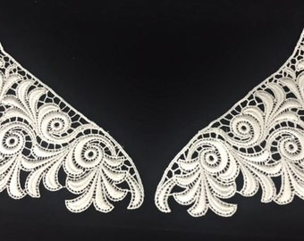 Vintage Off White Embroidered Swirl Lace Applique Pair