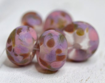 lamp work beads... SRA handmade, matte finish, lampwork beads, pink beads, lavender beads set of (5) for making jewelry 72916-3
