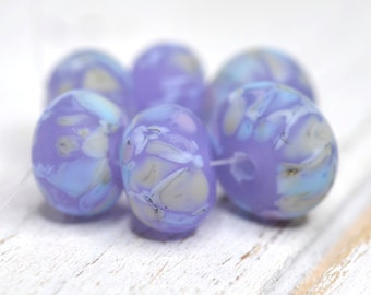 purple lampwork beads....SRA handmade, gorgeous blue and lavender on crocus set of  lampwork beads for making jewelry 42816-12