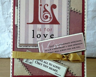 L is for Love handmade card | Ideal for a valentine, husband or wife, anniversary, birthday or just to show someone you love them | handmade
