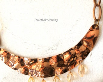 copper and crystal necklace